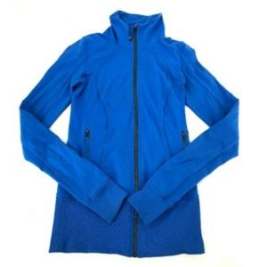 Lululemon Long Blue Track Jacket Coat Fitted 2 XS